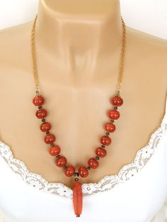 Orange Gemstone Necklace Handcrafted Long by BlondePeachJewelry