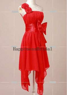 High Quailty A-line Flowers One-shoulder Chiffon Fashion Bridesmaid Dresses Prom Dresses Formal Dresses Evening Dresses Party Dresses 2013
