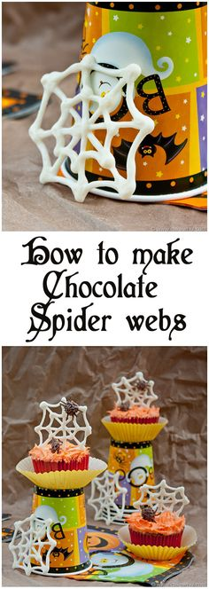 Learn how to make these EASY chocolate spider webs and tiny little chocolate spiders for your cakes and cupcakes! From cakewhiz.com