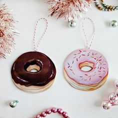 Donut Ornaments (choice of pink or chocolate)