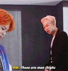 "Bangtan fanboying over Jimin's amazing thighs makes me question their sexuality XDD Jiminie looks so smug though he's all""Damn right y'all I got nice thighs """