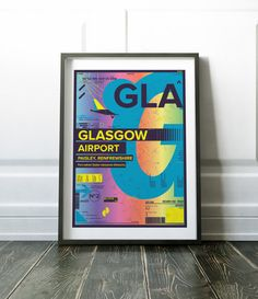 Modern Scottish print. Colourful Glasgow Airport print. Other airport prints are available in my store.  Most of my prints are now available for you to print at home in my other shop here: www.etsy.com/uk/shop/NordicDesignHouseCo  MY PRINTS  Prints are produced on a professional Canon printer using Canon dye based inks and a 6 colour system to ensure vivid and rich coloured prints every time. Actual colours may vary slightly as each monitor displays colours differently.  Please note that…
