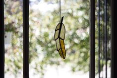 Looooove for a nursery! That iridescent yellow though! ♡ Stained Glass Suncatchers, Wind Chimes, Iridescent, Nursery, Ceiling Lights, Yellow, Pendant, Outdoor Decor, Home Decor