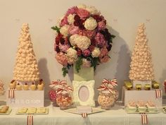 cute ribbons, boxes, frame, and flowers for candy bar