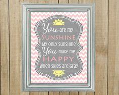 Trendy Rosa Chevron com Gray You Are My Sunshine Nursery Wall Decor, Playroom, presente, impressão, arquivo personalizado Digital