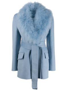 Fur Collar Jacket, Hooded Jacket, Shearling Coat, Blue Wool, Fur Collars, Fall Winter Outfits, Fashion Forward, Prada, Women Wear