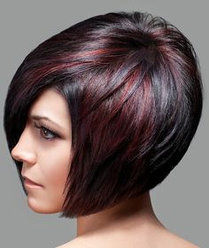 picture of bob with brown highlights on dark short hair, elegant style for women, next view - bob from the side