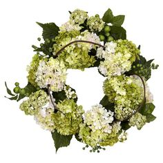 Featuring faux hydrangeas surrounded by lifelike greenery and berries, this charming wreath offers garden-inspired style on your entryway wall or displayed a...