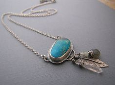 Natural Blue Turquoise Feather Crystal by sundownbeaddesigns, $160.00... QUIT PLAYING... A MUST HAVE