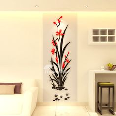 The living room wall decor is composed of good quality acrylic material, surface has flower pattern that keeps house modern look. Wall Painting Decor, Room Wall Decor, Wall Painting Living Room, Wall Paint Combination, Simple Wall Paintings, Modern Wall Decals, Tableau Design, Wall Stickers Home Decor, Home Wall Art