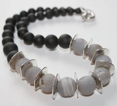 Black Onyx silver spacers and Grey/White Druzy by OllieBooJewelry, $90.00  #crafyab #ollieboojewelry #YEG #Leather #Metallic #druzy