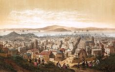 1860 - Color Illustration of San Francisco - View from Nob Hill looking down Sacramento Street. Source: Library of Congress