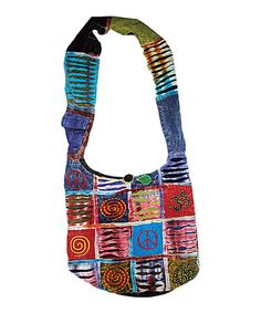 Take a look at this Blue & Red Peace Om Patchwork Hobo by Rising International on #zulily today!