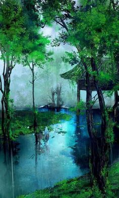 Chinese landscape illustration art of animation 35 New Ideas Watercolor Landscape, Landscape Art, Landscape Paintings, Landscape Photography, Nature Photography, Forest Landscape, Green Landscape, Oil Painting Flowers, Oil Painting Abstract