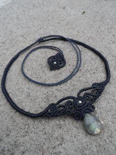 Labradorite Macrame necklace choker & tiara stone by LaQuetzal Macrame Necklace, Macrame Jewelry, Wire Jewelry, Tree Necklace, Wire Wrapped Earrings, Wire Wrapped Pendant, Wire Earrings, Hemp Jewelry, Handmade Jewelry