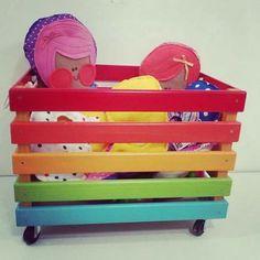 Crate Furniture, Wood Pallet Furniture, Wood Crates, Kids Furniture, Wood Pallets, Diy Toy Box, Toy Boxes, Diy Pencil Case, Baby Deco