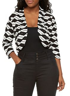 Plus Size Textured Open Front Shrug with Striped Details
