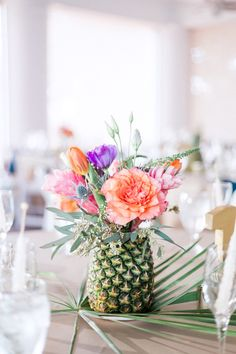 pineapple floral centerpiece for a tropical wedding