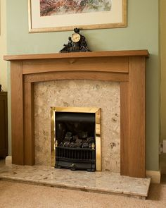 """Sent in by Eric Lees, The Dewsbury Oak. Check out Eric's brand new fire surround in the photo above. """"Thank you for such excellent service and a beautiful product. Oak Mantel, Mantel Shelf, Oak Fire Surround, Pretty Room, Fireplace Surrounds, Fireplace Ideas, Cabinet Colors, Solid Oak, Room Ideas"""