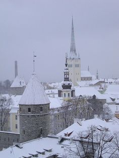 Tallinn, Estonia in snow on a grey day