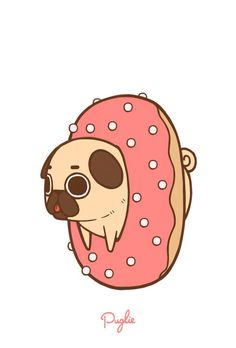 Cute donut-pug wallpaper                                                                                                                                                                                 More