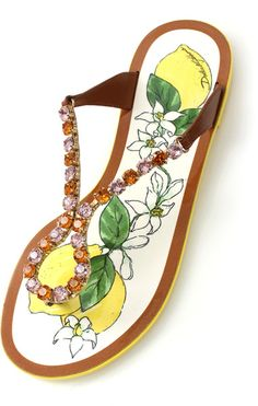Dolce   Gabbana Crystal Detail Thong Sandal in Yellow (LEMON) Dolce    Gabbana d38c1d02f58