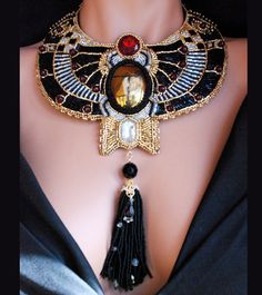 Metropolis - Bead Embroidered Golden Scarab Necklace, Statement Steampunk Collar Necklace, Art Deco Revival with Tassel Jewelry
