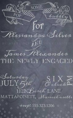 Bubbly Chalkboard Engagement Party Invitation by LucLilahEvents, $16.00