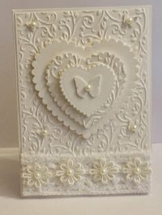 My little craftie corner - lovely white-on-white card Wedding Day Cards, Wedding Shower Cards, Wedding Cards Handmade, Wedding Anniversary Cards, Beautiful Handmade Cards, Greeting Cards Handmade, Happy Anniversary, Romantic Cards, Engagement Cards