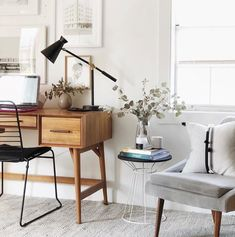 Home Office Inspiration Office Inspiration, Home Decor Bedroom, Decor, Bedroom Decor, Home, Desk In Living Room, West Elm Desk, Mid Century Desk, Furniture Decor