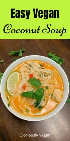 These easy vegan coconut Soup recipes are packed with veggies and a ton of flavor. Making it a perfect weeknight meal for friends and family. Here you will find Thai coconut soup, healthy curry soup, coconut lentil soup with lime, chickpea and lot more. #vegansoup #healthyrecipes #coconutsoup #currysoup Quick Easy Vegan, Easy Vegan Dinner, Vegan Dinner Recipes, Vegan Dinners, Easy Healthy Recipes, Whole Food Recipes, Vegetarian Soup, Vegan Soup, Vegetarian Recipes