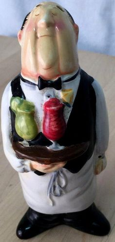 """CIC China Waiter Holding Drinks Salt Shaker (3 hole) 6"""" inches With Stopper RARE #CIC"""