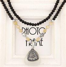 christmas gift wholesale fahion handmade beads vintage triangle opal long necklace triangle Bead sweater chain(China (Mainland))