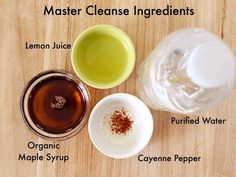 The recipe for Master Cleanse Lemonade requires four ingredients: a high-quality maple syrup, lemons, cayenne pepper, and purified water. fast diet water #LemonadeDetoxDiet