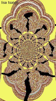 DIGITAL ART by LISA TSAKIRI: Fractal ' Ripped Joyous Yellow Round '