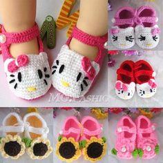 Baby Infant Toddler Handmade Crochet Knit Flower Sandals Crib Shoes Prewalker