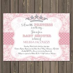 Princess Baby Shower Invitation in Pink and Grey with a Tiara, Printable
