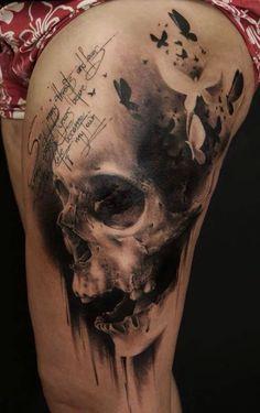 Black gray scale scull tattoo