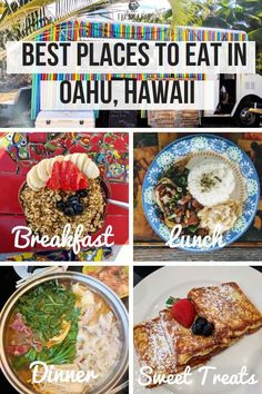 24 Best Places To Eat In Oahu For All Tastes & Budgets Ultimate guide to food in – best places for breakfast, lunch and dinner including traditional Hawaiian food, cheap eats in and more! Food Places, Best Places To Eat, Backpacking Europe, Bora Bora, Belfast, Belize, Traditional Hawaiian Food, Oahu Vacation, Hawaii Travel Guide