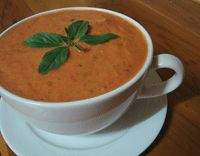 Cold Tomato Basil Soup Recipe~~DELISH!  Impatiently waiting for my fresh tomatoes, since I did not have them, beefsteak tomatoes and a can of  San Marzano tomatoes, although Fire Roasted would have been nice too!  Room temp, for lunch on a hot summer day...YUMMO!!