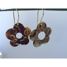 Flower Hook Earrings-big earrings-golden earrings-jewelry shop-prom... ($10) ❤ liked on Polyvore featuring jewelry and earrings