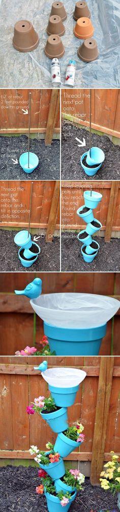 homemade garden decoration ideas flower pots bird fountain
