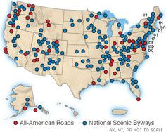 America's Byways®: National Scenic Byways Online America's Byways® is the umbrella term we use for marketing the collection of 150 distinct and diverse roads designated by the U.S. Secretary of Transportation. America's Byways include the National Scenic Byways and All-American Roads.