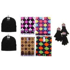 Winter Beanie Hats, Black Gloves & Argyle Scarves