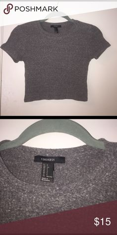 Crop T-Shirt Dark Grey, extremely stretchy , soft/comfortable , I'm a M but fit well in this , perfect with high waisted jean shorts Forever 21 Tops Crop Tops