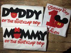 Cumpleaños mickey mouse niños con camisas por LittleChickiesClips