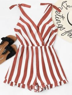 Summer No Ruffles Striped Sleeveless Plunging Regular Casual Daily Striped Ruffle Hem Romper Cute Summer Outfits, Spring Outfits, Casual Outfits, Girl Outfits, Cute Outfits, Fashion Outfits, Fashion Styles, Trendy Fashion, Casual Summer