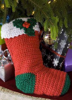 2013 Crochet christmas stocking ornaments, Orange Christmas stocking #2013 #crochet #christmas #decorations www.loveitsomuch.com