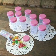 20 Pill Bottles JARS PINK Lids birthday party favors candy jars #K3814 DecoJars #DecoJars