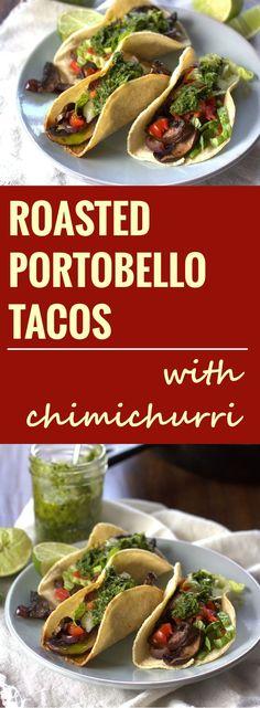 Roasted Portobello Tacos with Chimichurri Sauce